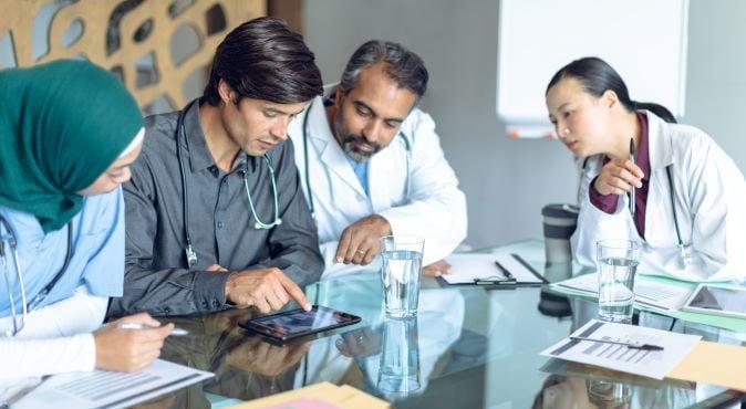 Healthcare leaders having meeting