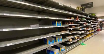 Empty supermarket shelves